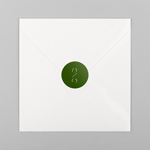 Stickers pour enveloppes mariage Calligraphie vert sapin - Vue 1