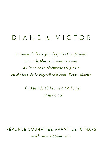 Carton d'invitation mariage Calligraphie vert sapin
