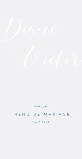 Menu de mariage Calligraphie bleu