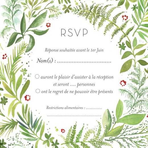 Carton réponse mariage Murmure de forêt vert
