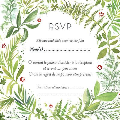 Carton réponse mariage Murmure de forêt vert finition