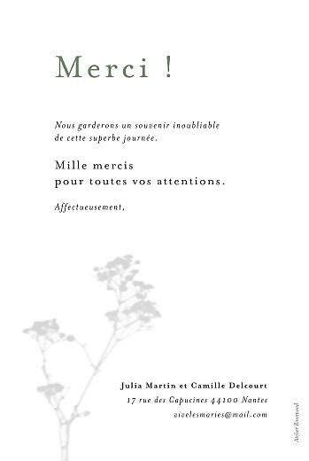 Carte de remerciement mariage Songe champêtre gypsophile - Page 2
