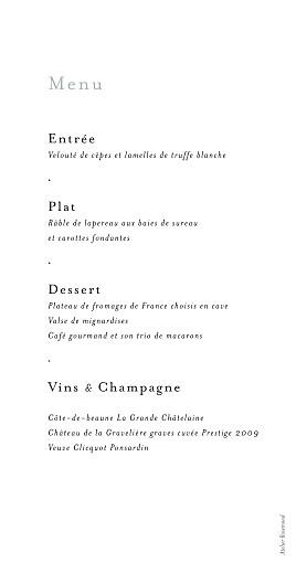 Menu de mariage Songe champêtre gypsophile - Page 2