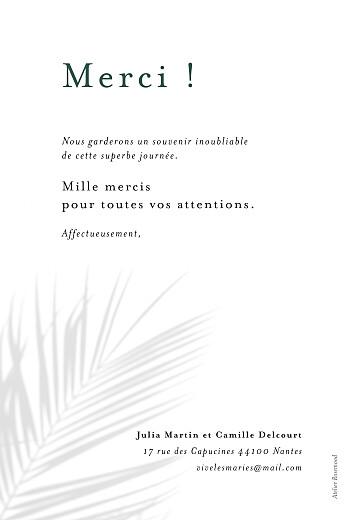 Carte de remerciement mariage Songe méditerranéen palmier - Page 2