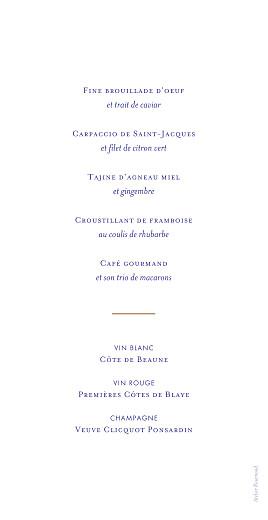 Menu de mariage Love code bleu - Page 2