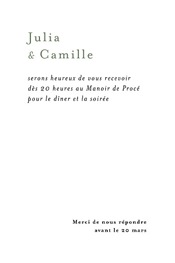 Carton d'invitation mariage Songe champêtre gypsophile - Page 2