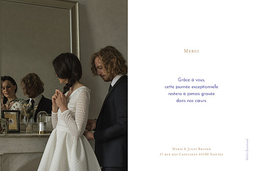Carte de remerciement mariage Love code bleu - Page 2