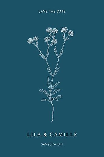Save the Date Botanique bleu