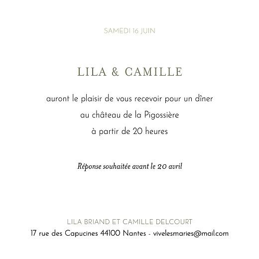 Carton d'invitation mariage Botanique vert - Page 2