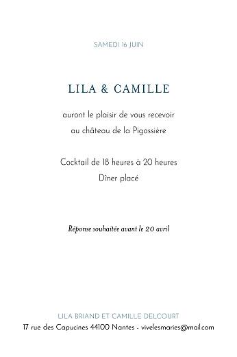Carton d'invitation mariage Botanique (portrait) bleu - Page 2