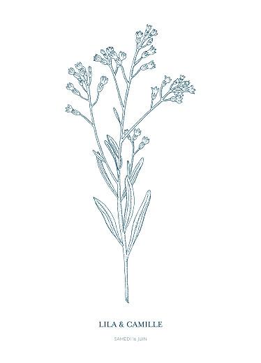 Livret de messe mariage Botanique bleu