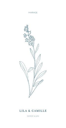 Menu de mariage Botanique bleu