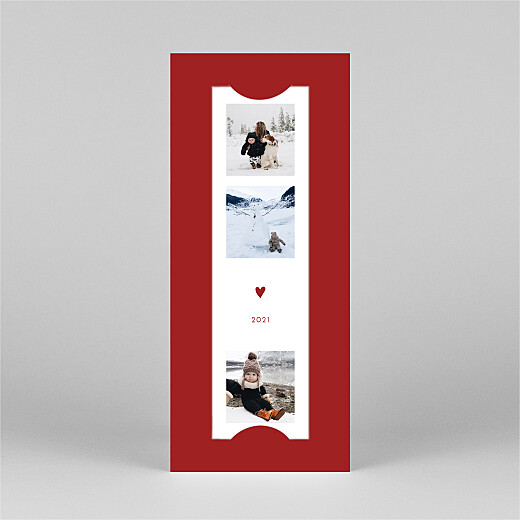 Carte de voeux Elegant cœur (marque-page) rouge - Vue 2