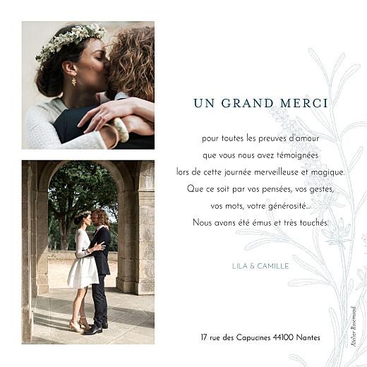 Carte de remerciement mariage Botanique bleu - Page 2