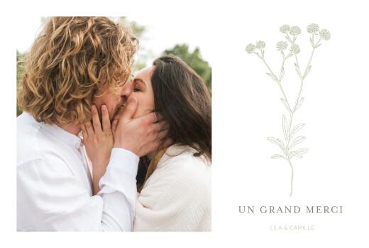 Carte de remerciement mariage Botanique (paysage) vert