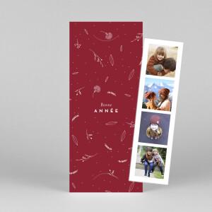 Carte de voeux Élégant feuillage (marque-page) rouge