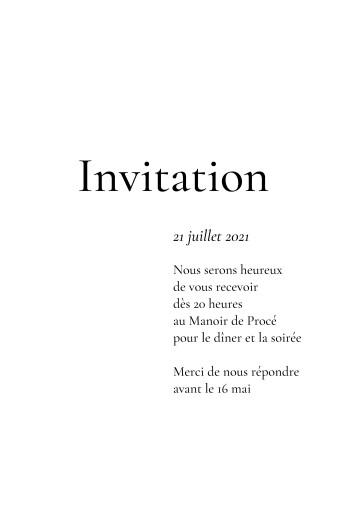 Carton d'invitation mariage Sobre portrait blanc