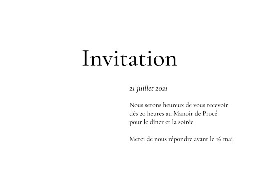 Carton d'invitation mariage Sobre blanc