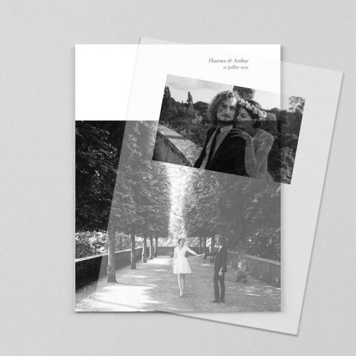 Carte de remerciement mariage Sobre portrait (calque) blanc - Vue 1