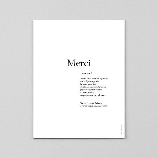 Carte de remerciement mariage Sobre portrait (calque) blanc - Vue 3