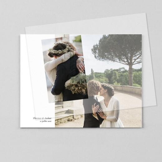 Carte de remerciement mariage Sobre (calque) blanc - Vue 1