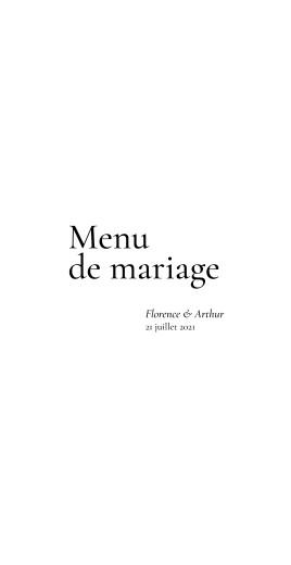 Menu de mariage Sobre blanc