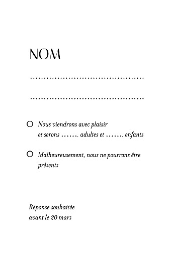 Carton réponse mariage Empreinte blanc - Page 2
