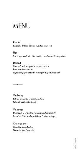 Menu de mariage Empreinte 1 - Page 2