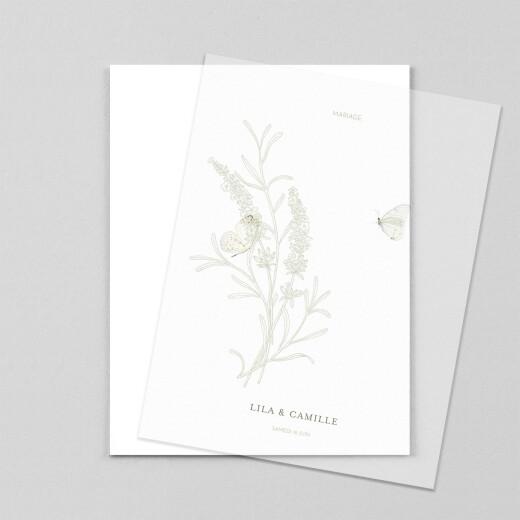 Faire-part de mariage Botanique portrait (calque) vert - Vue 1
