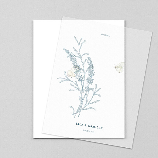 Faire-part de mariage Botanique portrait (calque) bleu - Vue 1