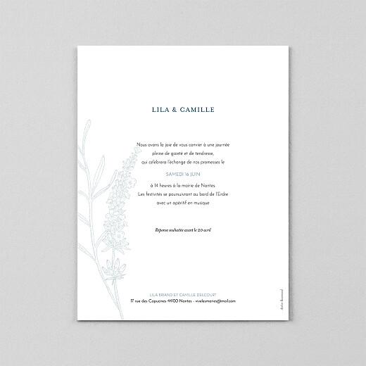Faire-part de mariage Botanique portrait (calque) bleu - Vue 3