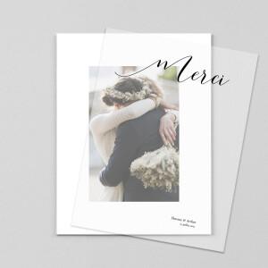 Carte de remerciement mariage Grand dévoilé (calque) blanc