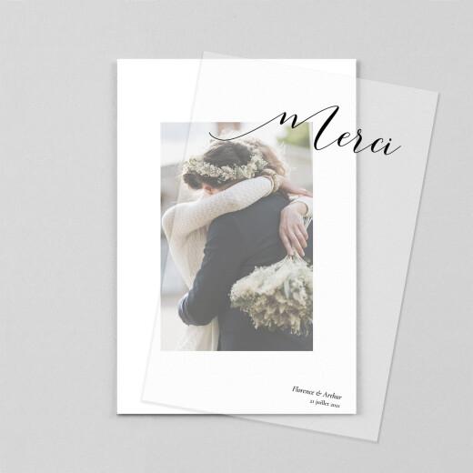 Carte de remerciement mariage Dévoilé (calque) blanc - Vue 1