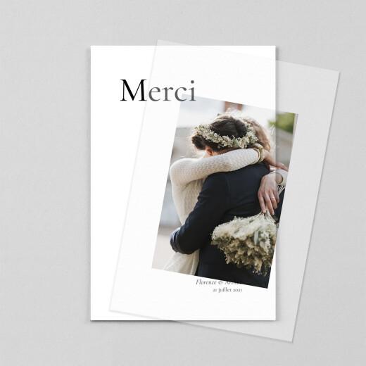 Carte de remerciement mariage Sobre petit portrait (calque) blanc - Vue 1