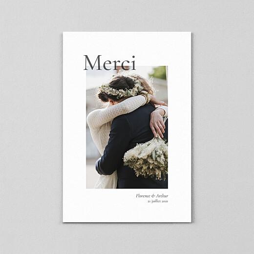 Carte de remerciement mariage Sobre petit portrait (calque) blanc - Vue 2