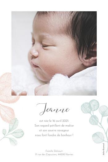 Faire-part de naissance Feuillaison (portrait) rose - Page 2