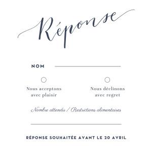 Carton réponse mariage Swing blanc