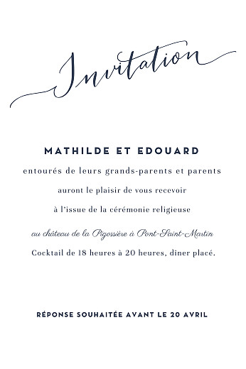 Carton d'invitation mariage Swing (portrait) blanc