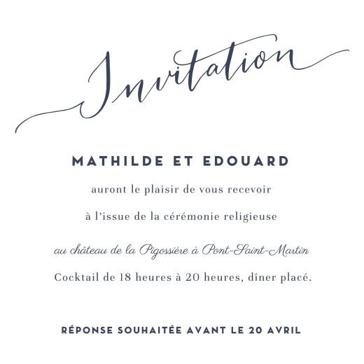 Carton d'invitation mariage Swing blanc