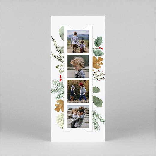 Carte de voeux Feuillage aquarelle (marque-page) blanc - Vue 2