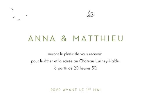 Carton d'invitation mariage Promesse bohème (petite) blanc