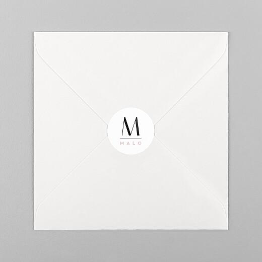 Stickers pour enveloppes naissance Trait de caractère rose - Vue 1