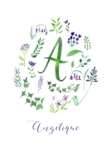 Affichette Alphabet fleuri blanc - Page 1