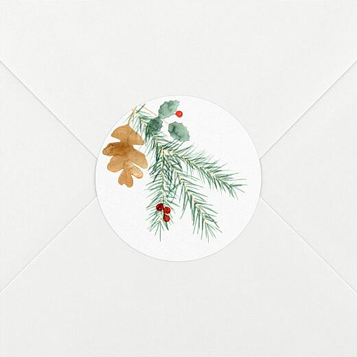 Stickers pour enveloppes vœux Feuillage aquarelle blanc - Vue 2