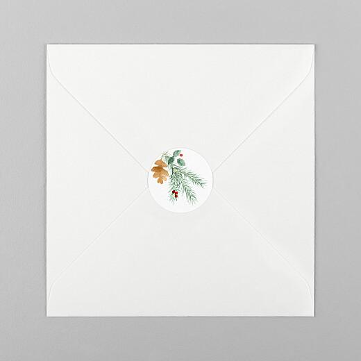 Stickers pour enveloppes vœux Feuillage aquarelle blanc - Vue 1