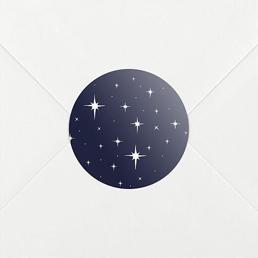 Stickers pour enveloppes vœux Sous les étoiles bleu nuit - Vue 2