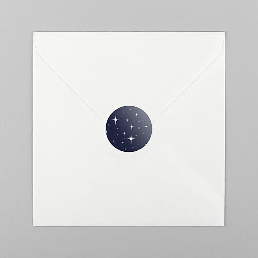 Stickers pour enveloppes vœux Sous les étoiles bleu nuit - Vue 1