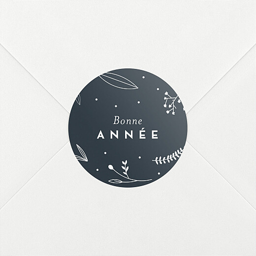 Stickers vœux Élégant feuillage bleu - Vue 2