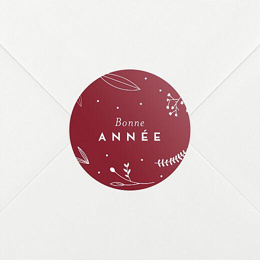 Stickers pour enveloppes vœux Élégant feuillage rouge - Vue 2