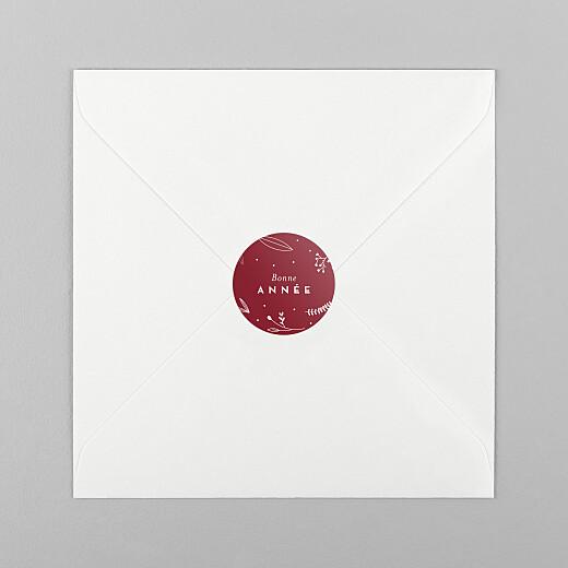 Stickers pour enveloppes vœux Élégant feuillage rouge - Vue 1